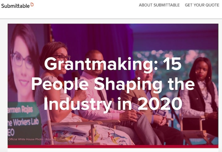 A screenshot of a piece of content titled 'Grantmaking: 15 People Shaping the Industry in 2020'