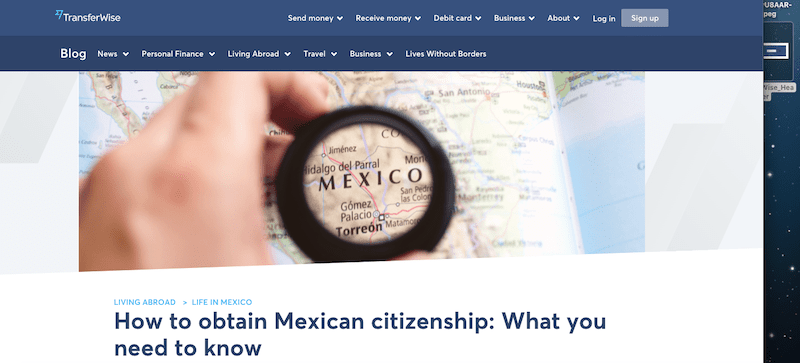 A screenshot of a blog for TransferWise titled 'How to obtain Mexican citizenship: What you need to know'