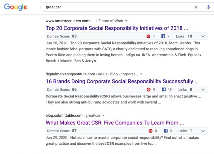 A screenshot showing a piece of content titled 'What Makes Great CSR: Five Companies To Learn From' in position number 4 on Google for the search term 'Great CSR'