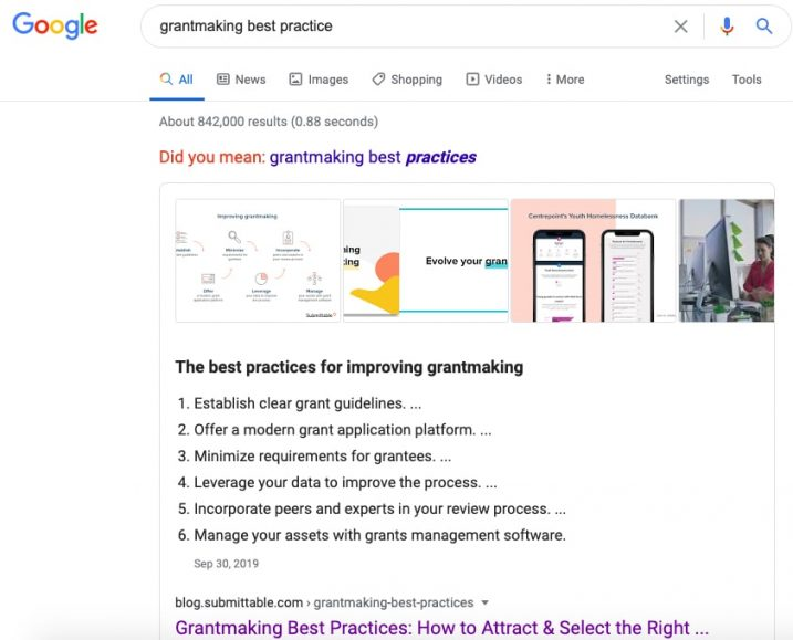 A screenshot showing a piece of content titled 'grantmaking best practices' ranked in the featured snippet position for the search term 'grantmaking best practices'